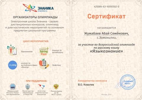 Сертификат - Ольга Григорьевна Четвернина